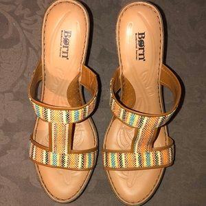 Born Lio t-strap wedge sandals